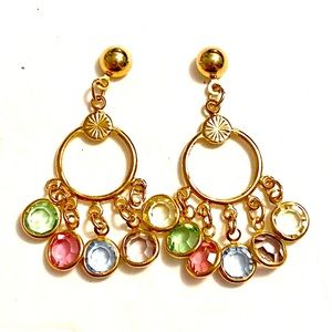 Vintage Crystal Gold dangle earrings